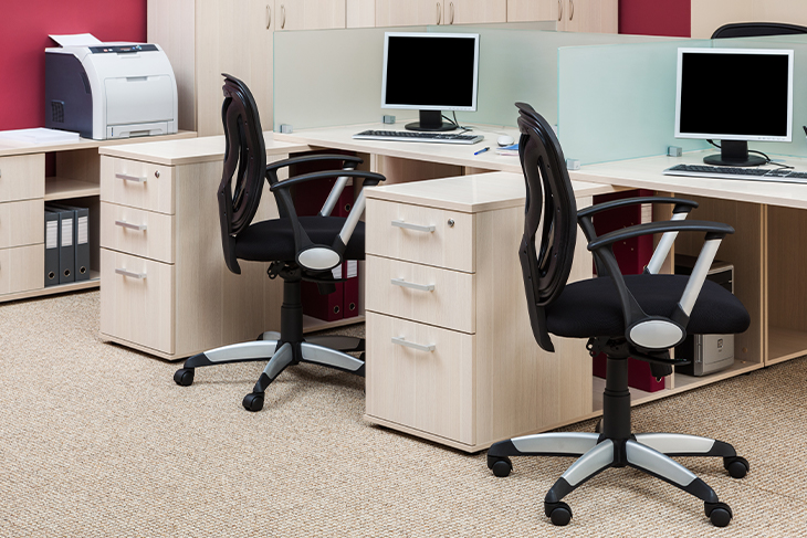 Office workstations with computers