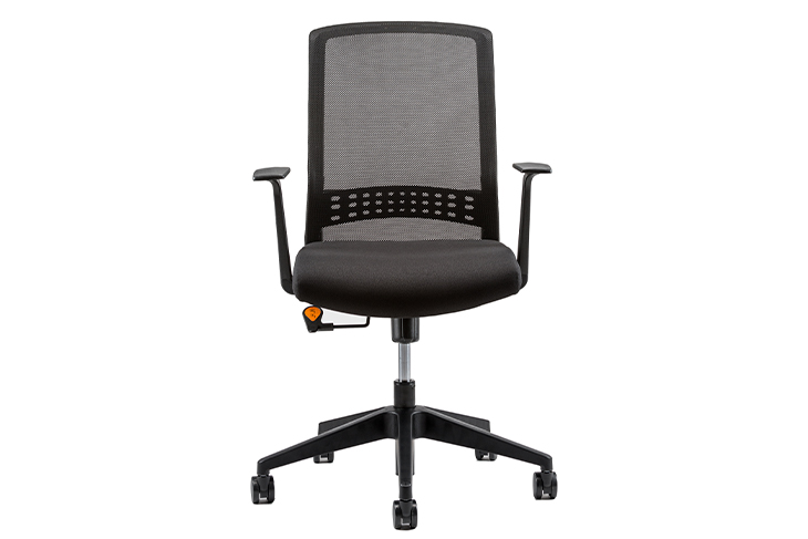 Vertical front view of black office chair isolated