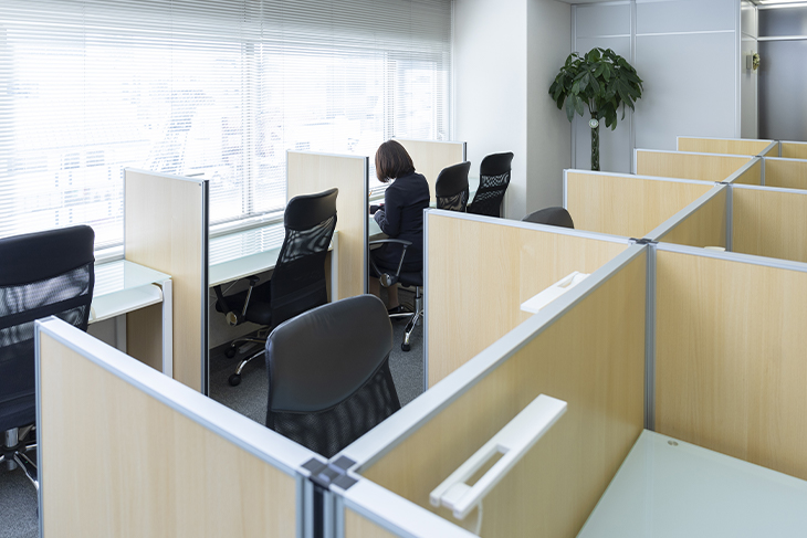 Woman working within a office divider